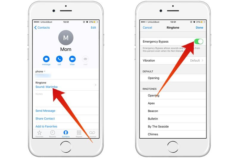 using iphone emergency bypass to enable contacts to get past do not disturb